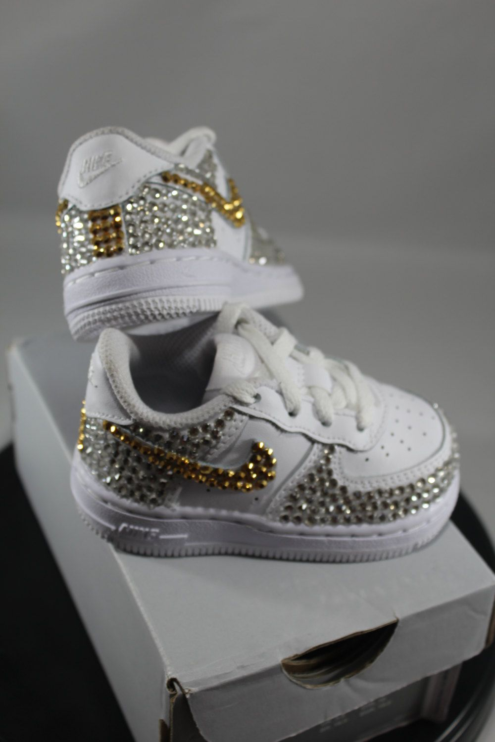 Custom Bling Air Force Ones- Bling Tennis Shoes- Bling   Pearls- Baby Bling  Nikes- AF1s- Custom Tennis Shoes- Bedazzled Nikes- Bling Shoes by ... 95fcf549c