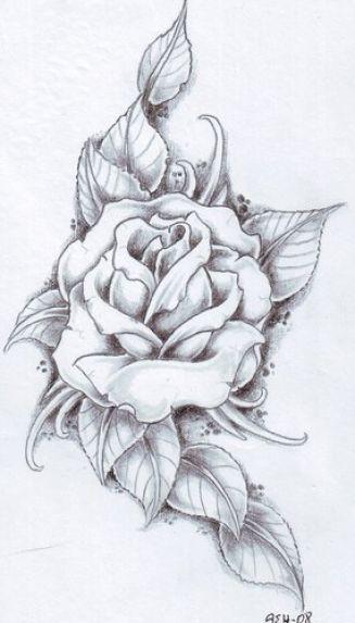 Dessin Pour Tatouage Rose Avec Feuilles Tatouage Pinterest