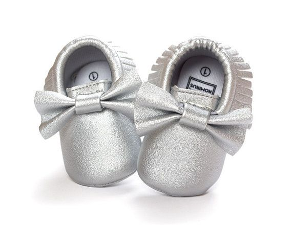 Metalic Silver Baby Moccasin Crib Shoes Baby Moccasins Girl Baby Shoes Newborn Baby Moccasins