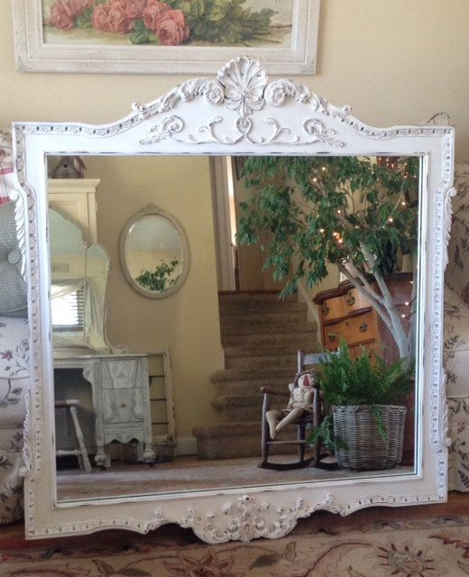 Shabby Chic Large Vintage Ornate Carved Wood Wall Wood Wall Mirror Mirror Wall Vintage Mirrors