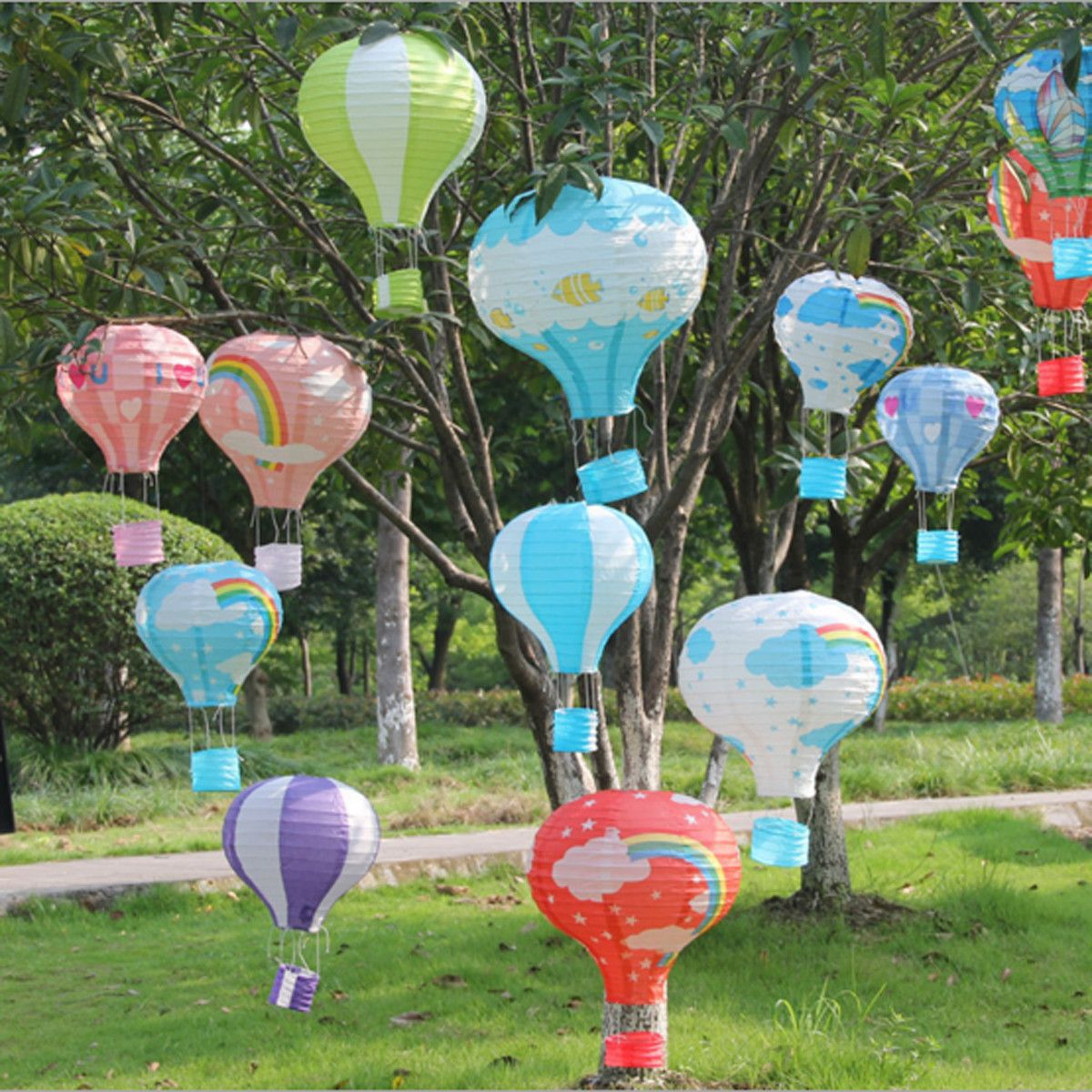 Paper lanterns wedding decoration ideas  Rainbow Hot Air Balloon Paper Lantern Home Birthday Christmas Party