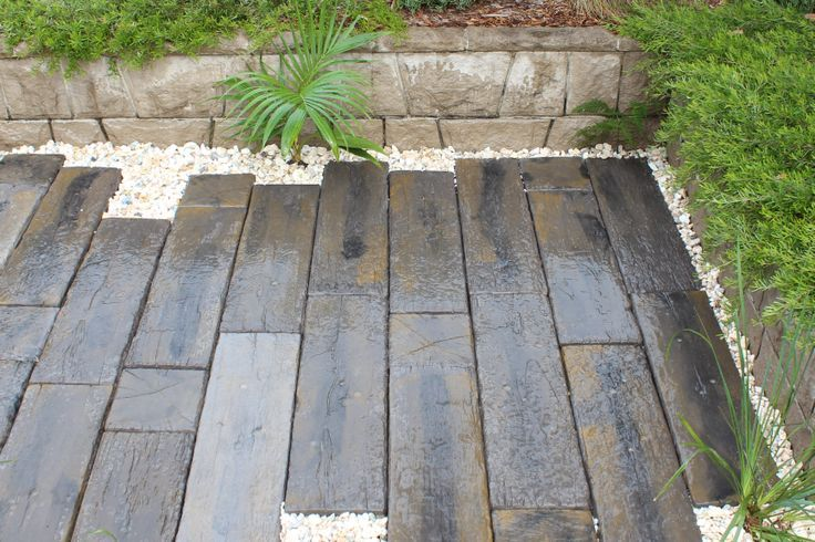 Timberstone   Concrete Pavers For An Outdoor Landscaping Renovation. Timber  Look Alike. Recreate The Look Of Authentic Aged Sleepers With Timberstone.