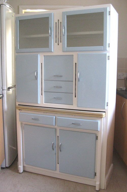 Description excellent vintage 1950s retro free standing for Antique free standing kitchen cabinets