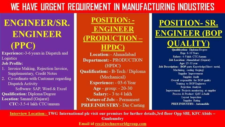 WE HAVE URGENT REQUIREMENT IN MANUFACTURING