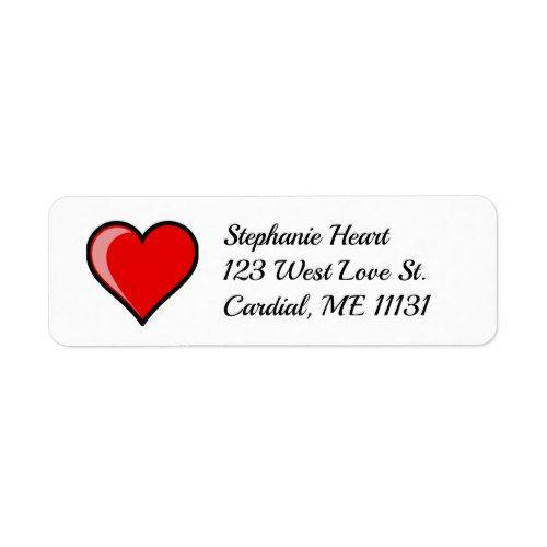 Red Heart Valentine Return Address Labels  Valentine Day Ideas