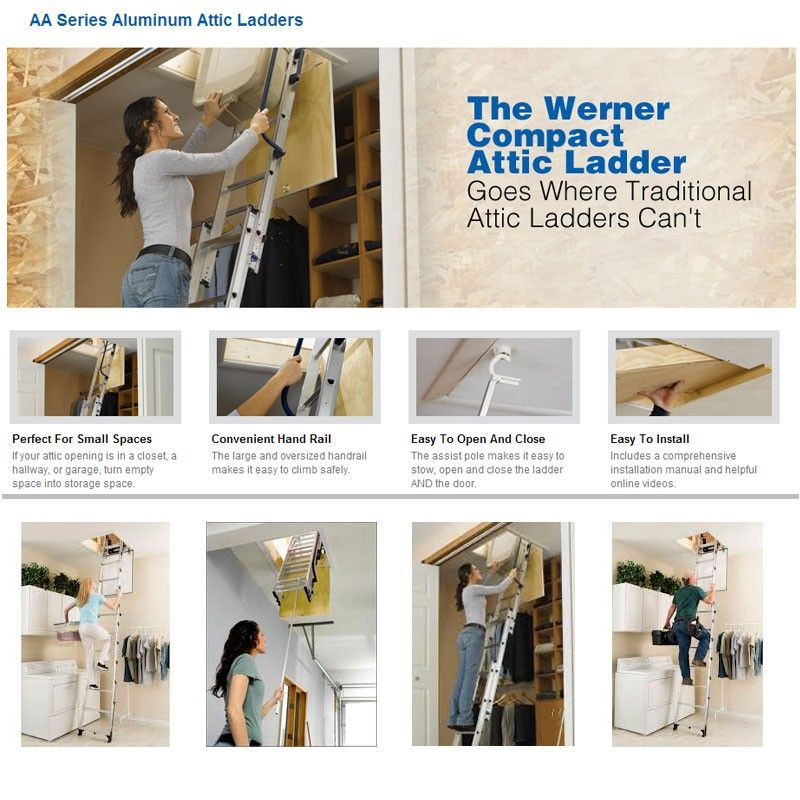 Werner Small Opening Attic Ladder Opening size 18 in. by 24 in. or bigger  sc 1 st  Pinterest & Werner Small Opening Attic Ladder Opening size 18 in. by 24 in. or ...