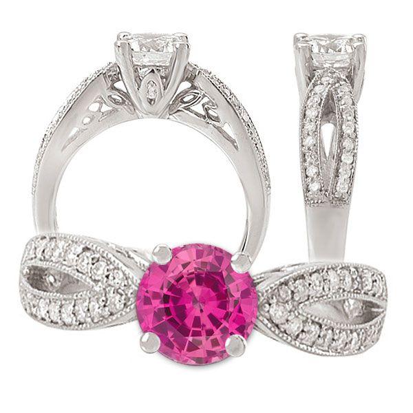 14k Chatham Created 6.5mm Round Pink Sapphire Gemstone