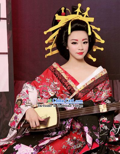 1c911823e Traditional Japanese Geisha Kimono Costumes and Hair Accessories Complete  Set for Women Madison
