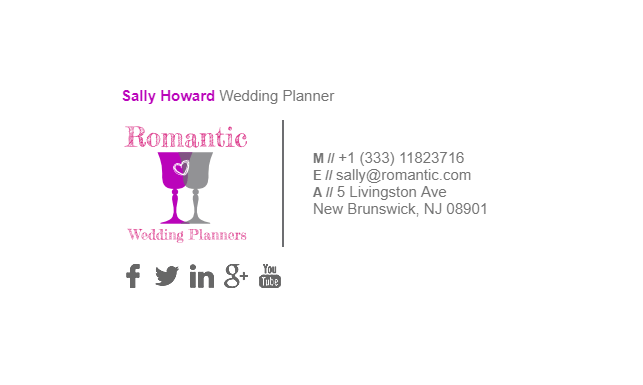 this is an email signature example for wedding planners wedding