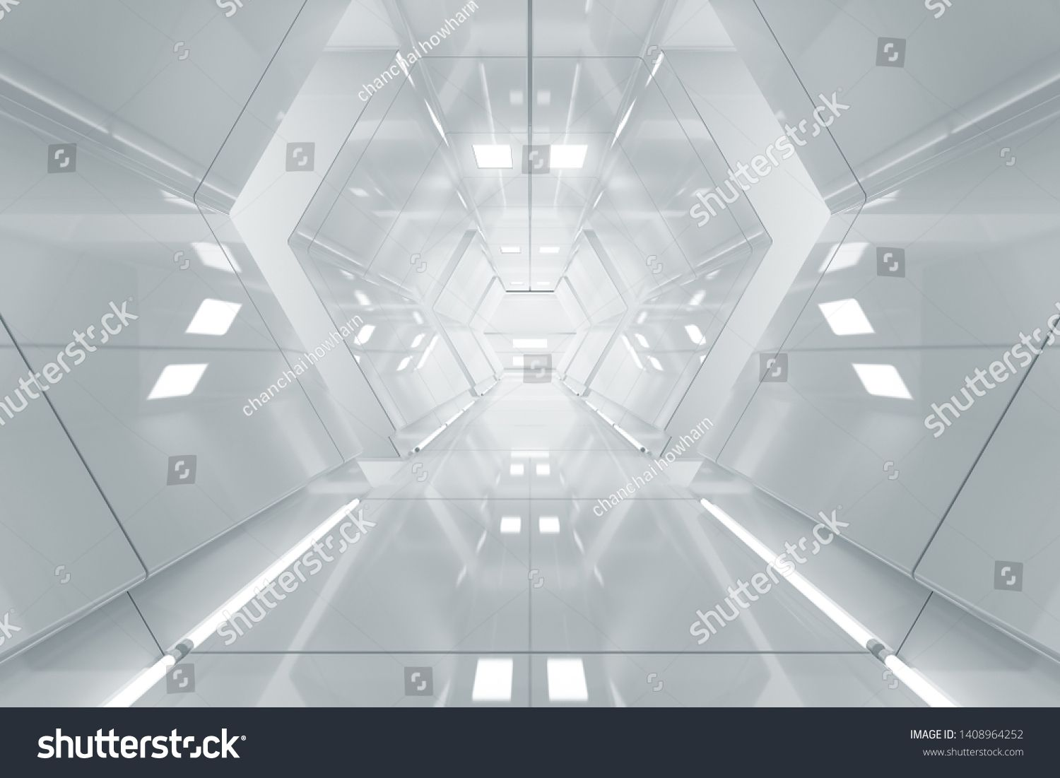 Abstract hexagon Spaceship corridor Futuristic tunnel with light Future interior background business scifi science concept 3d rendering