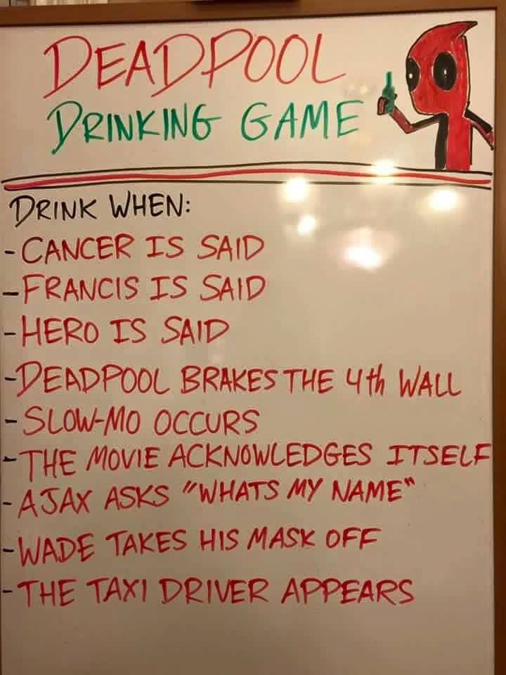Deadpool drinking game drinking pinterest drinking games deadpool drinking game holy balls this is a good way to get alcohol poisoning ccuart Image collections