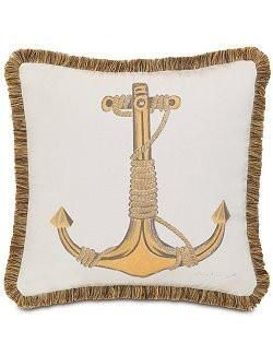 Hand Painted Fringed Anchor Indoor/Outdoor Pillow