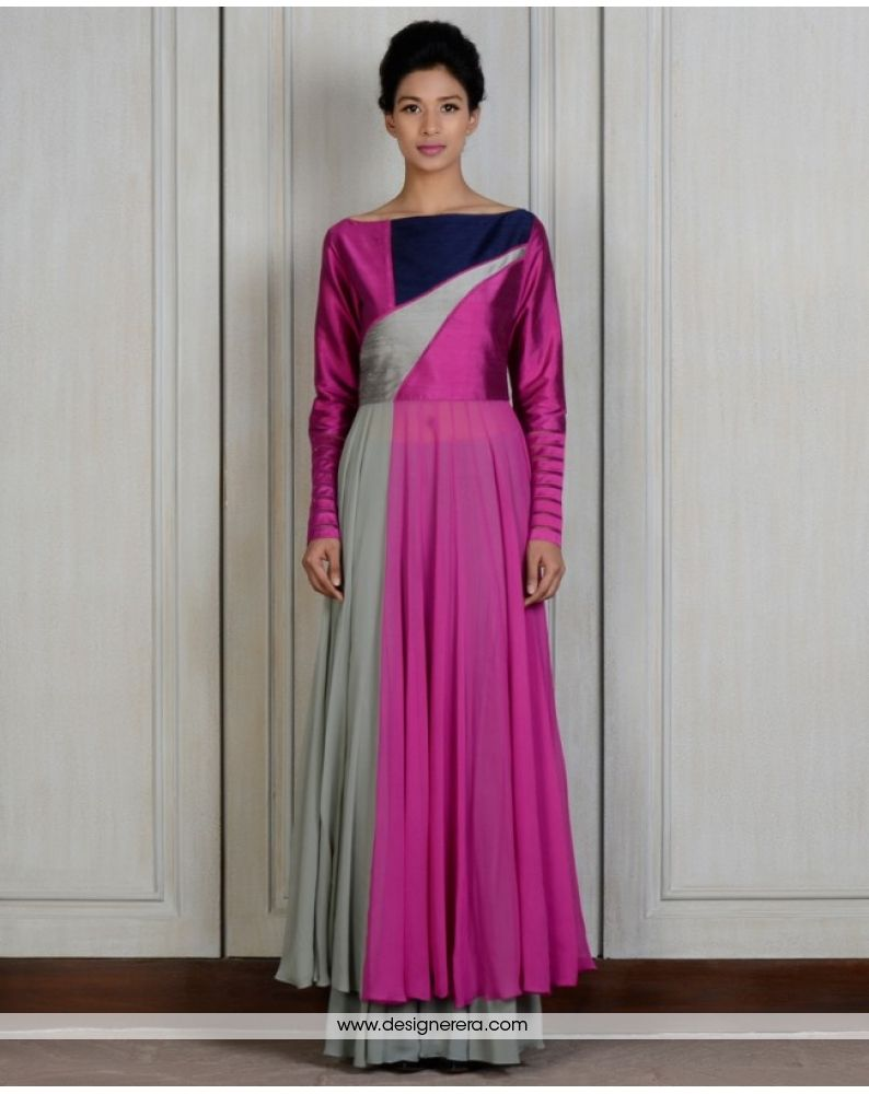 DE Incredible Designer Purple Grey Multi Colored One Piece Dress ...