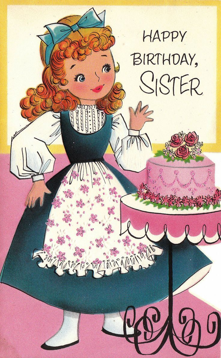 Girl With Rose Topped Pink Birthday Cake Vintage Birthday Cards
