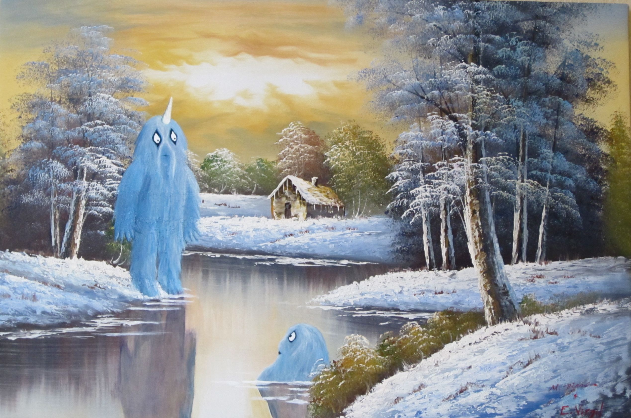 My Latest Monsters Possibly Calling This The Bath Thrift Store Art Landscape Painting Artists Old Paintings