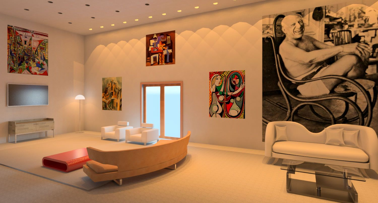 This Is A Picasso Inspired Living Room Designed By Me Daneen Rula Rendered And Designed Using Aut Living Room Design Inspiration Room Design Inspired Living