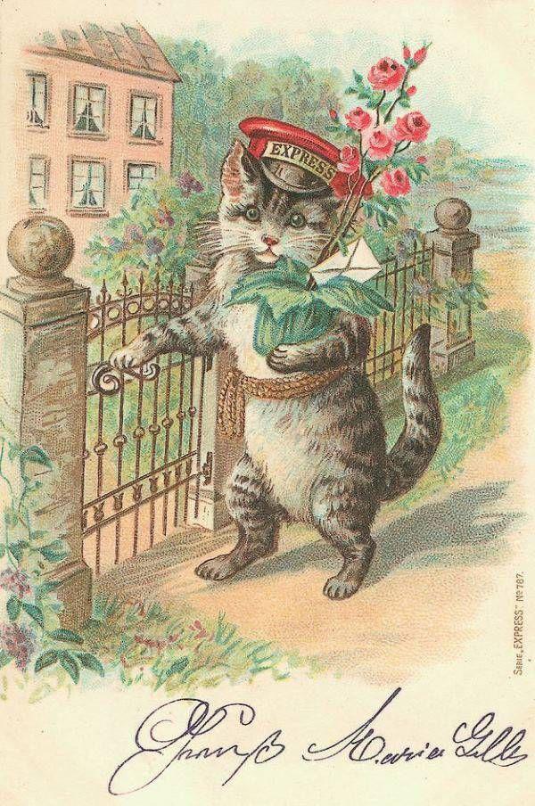 Картинки, винтажные открытки с котиками