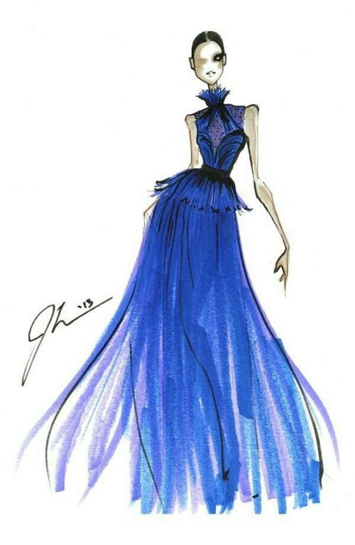 A pretty evening gown | Illustration Paradise | Pinterest | Fashion ...