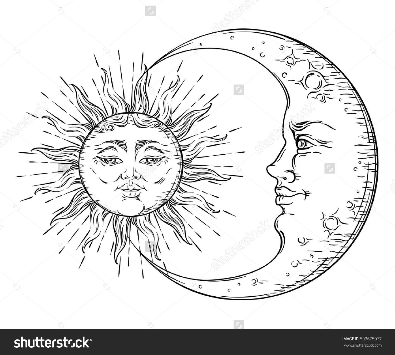 Antique Style Hand Drawn Art Sun And Crescent Moon. Boho