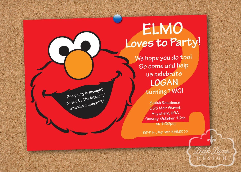 elmo sesame street birthday party personalized printable invitation - Elmo Birthday Party Invitations