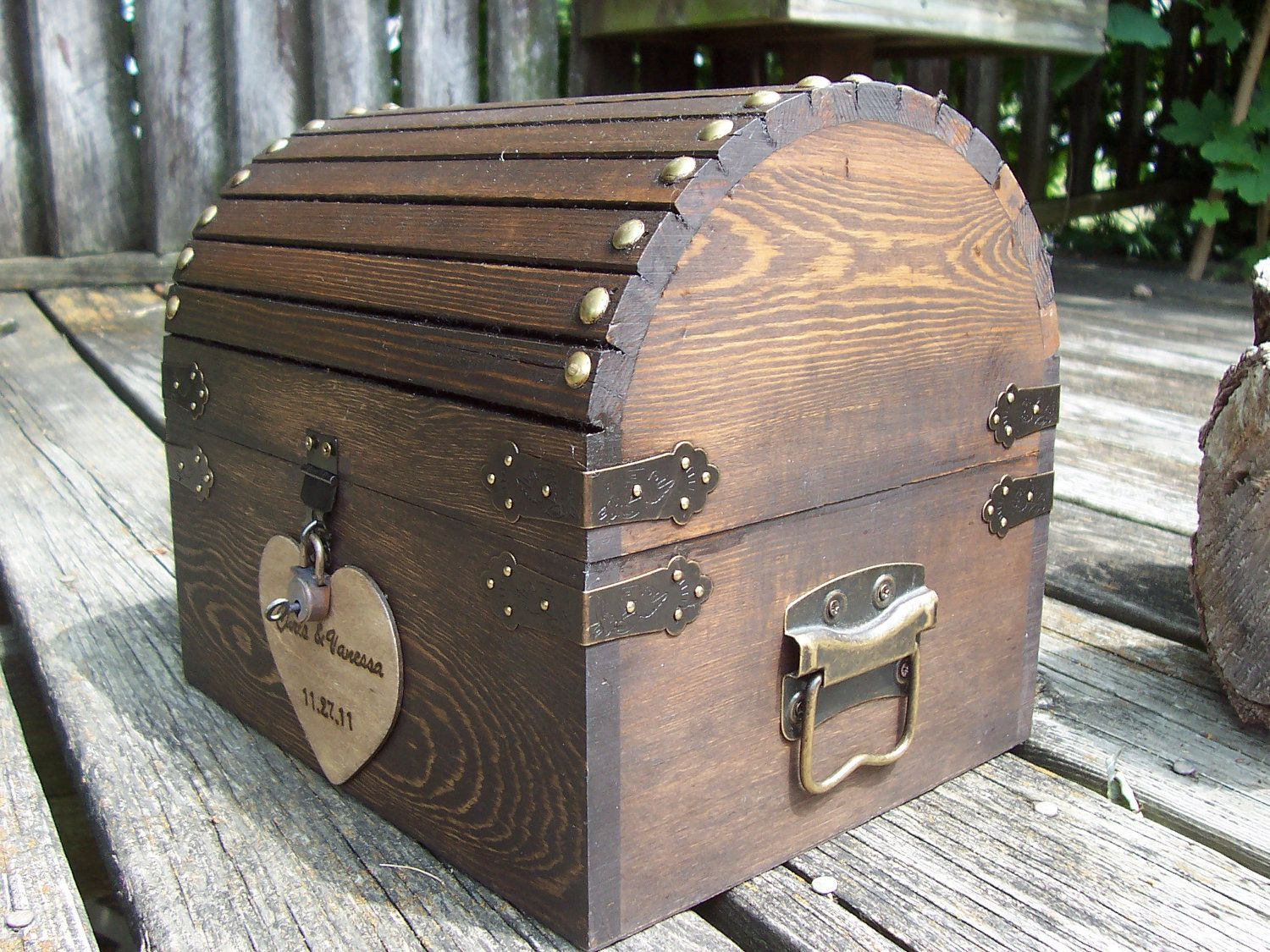 Wedding Card Box Stained Rustic Wood Fairytale Treasure Chest