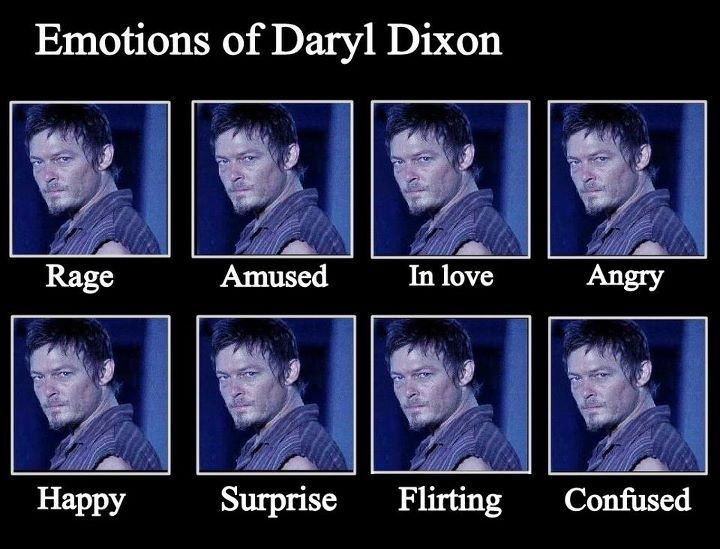 The emotions of Daryl Dixon. I think amused is the hottest.