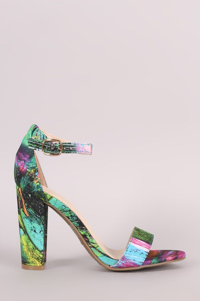 7ee23ccdee61 Bamboo Abstract Print Ankle Strap Chunky Heel – Style Lavish