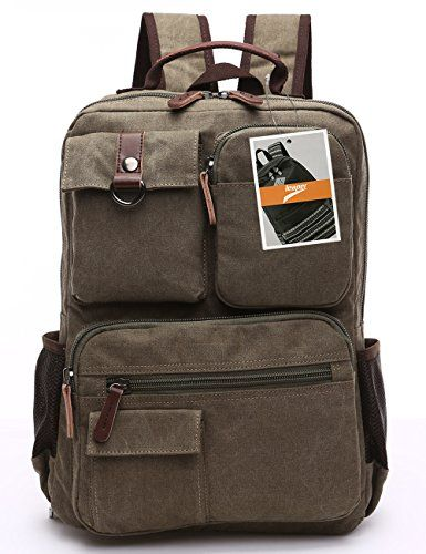 d1b4f3e8ec Leaper Vintage Cool Canvas Laptop Backpack Rucksack for College School  Travel Daypack Shoulder Bag Army Green   More info could be found at the  image url.