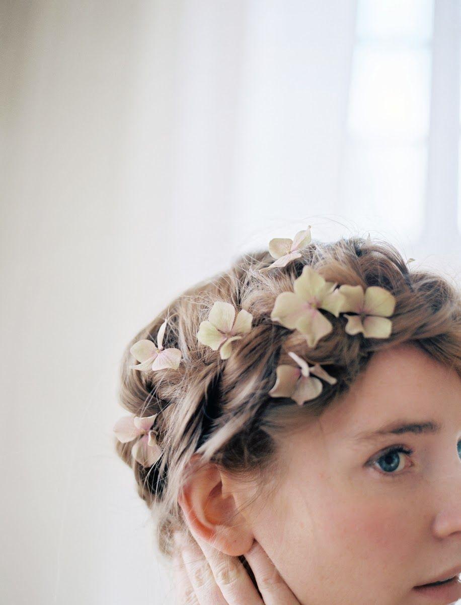 Hydrangea blooms in hair by Sarah Winward, photo by Britt Chudleigh ...