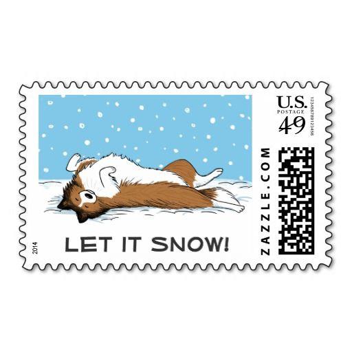 Shetland Sheepdog Let it Snow - Cute Dog Holiday Stamps - Sheltie Christmas Postage