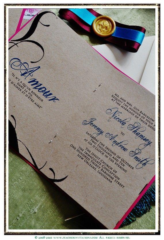 Inside of fuchsia invitation