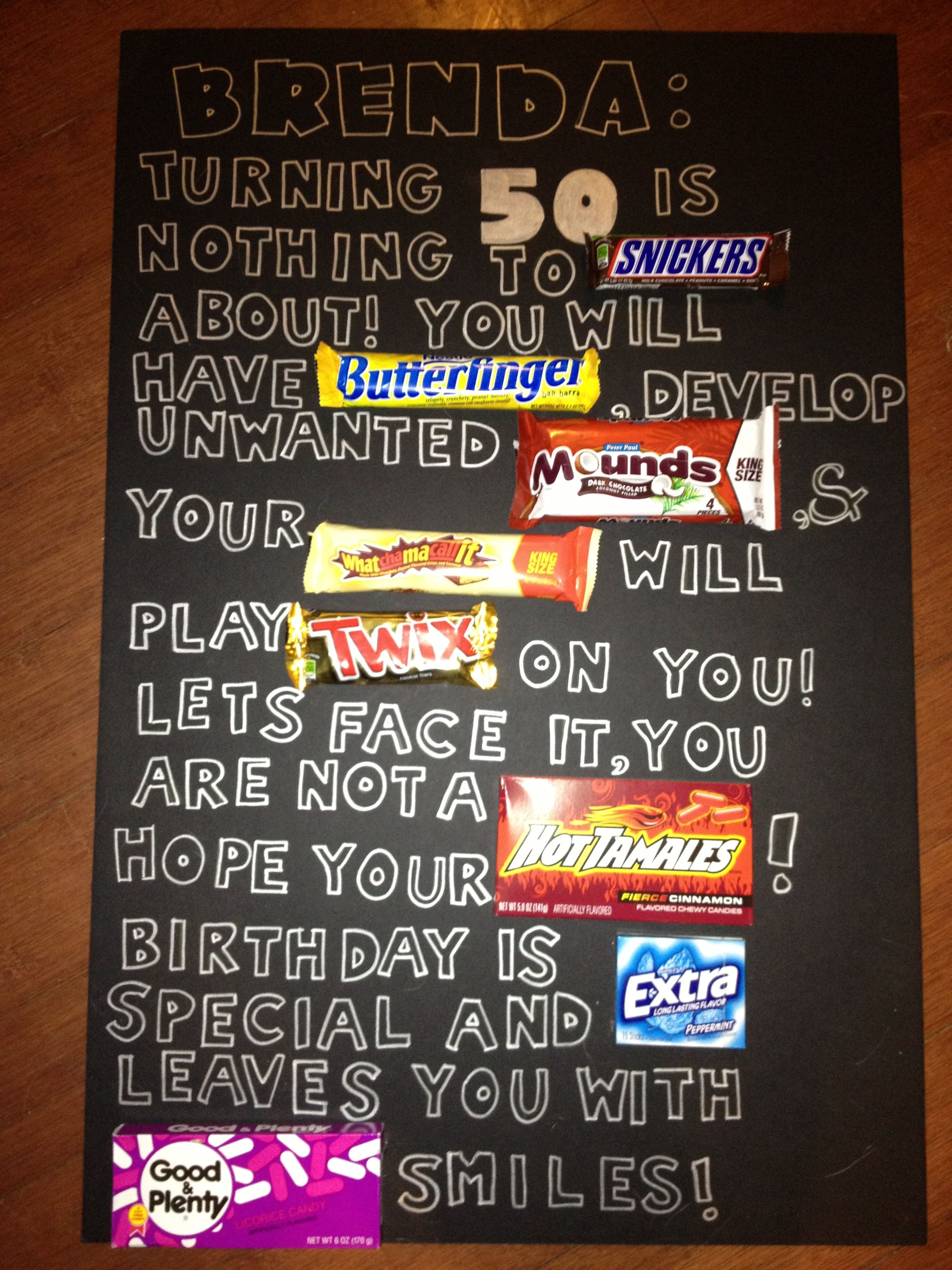 Candy bar over the hill poster th birthday pinterest