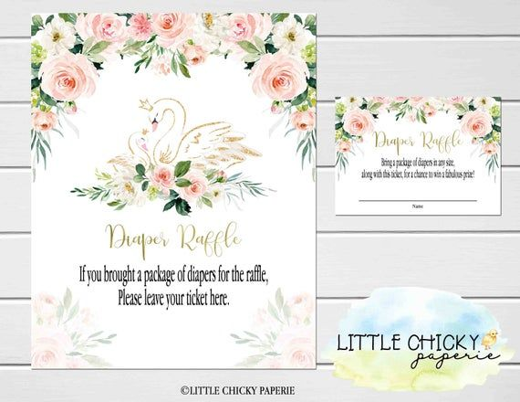 Swan Baby Shower Diaper Raffle Cards with Sign