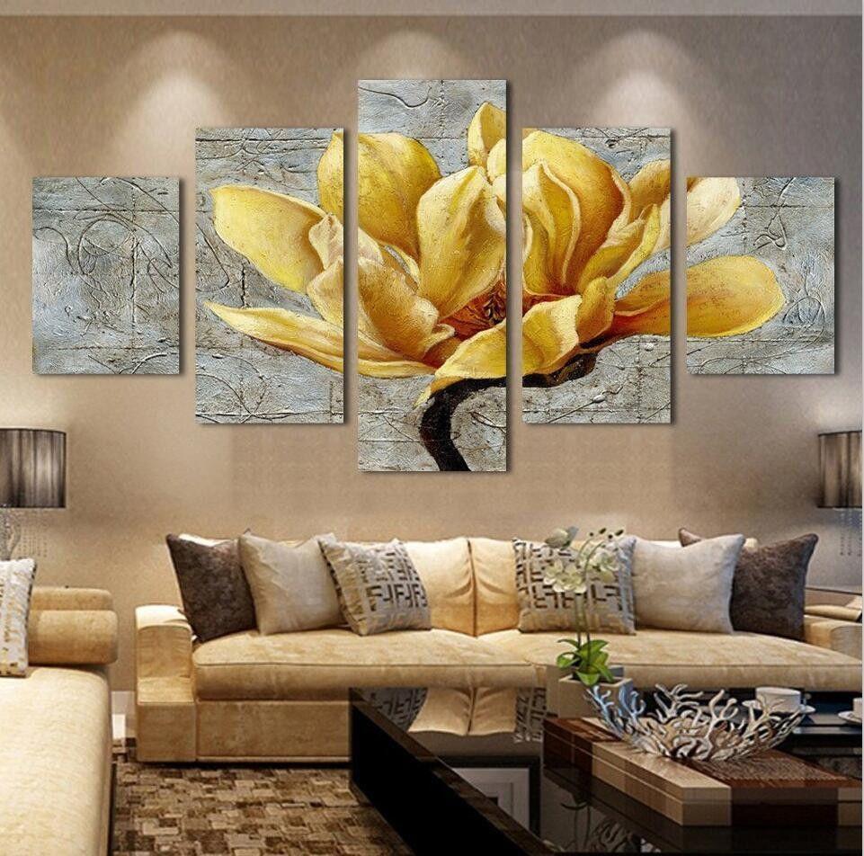 5 Piece Canvas Yellow Flower Canvas Art Wall Decor Decor