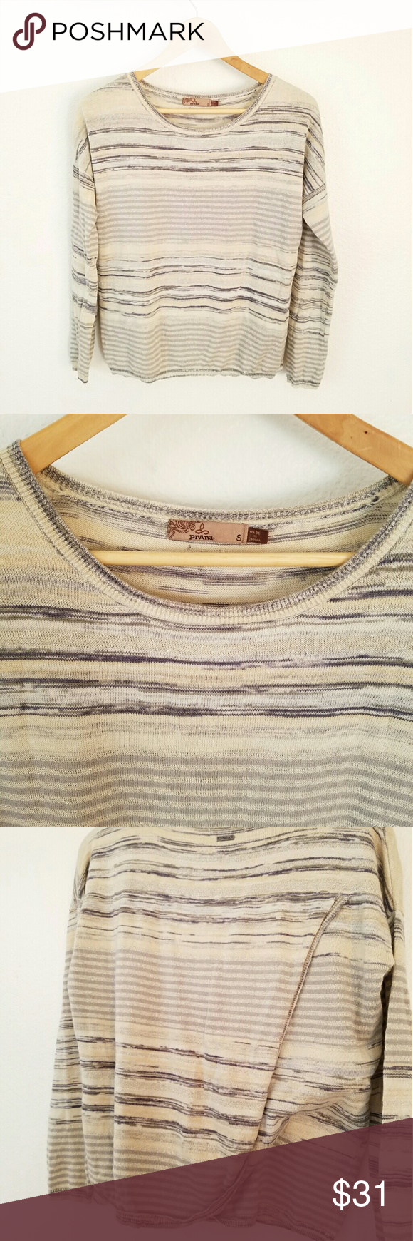 PRANA Shirt/Sweater Cool Prana Shirt, back wraps around as seen in photo 3, a little sparkly, great condition, worn about 8 times.94% cotton. Prana Tops Sweatshirts & Hoodies