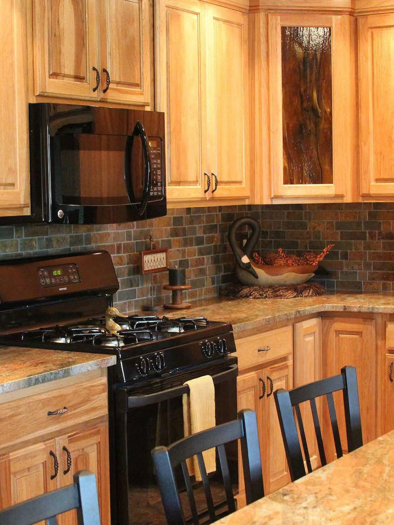 Oak Kitchen Cabinets Rustic Brown Gray Mosaic Tile Madura Gold