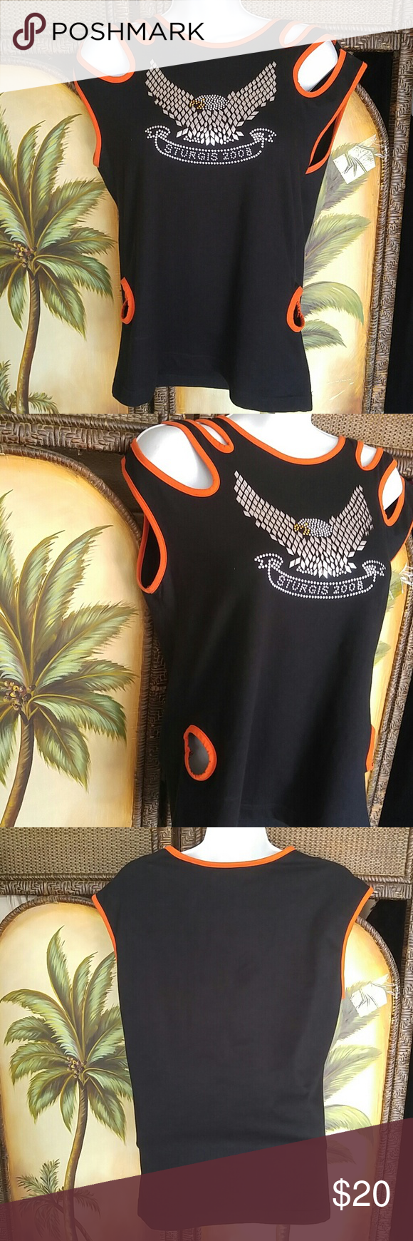 Biker sexy tank top Stored and worn one time No fading or flaws Orange and black Spandex and cotton Harley. Tag sports gallery Tops Tank Tops