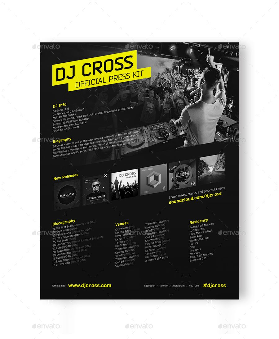 dj press kit    dj resume    dj rider psd template  kit   press   dj   resume