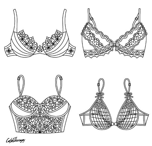 Pretty Bras coloring page | Color Therapy App. Try this ...