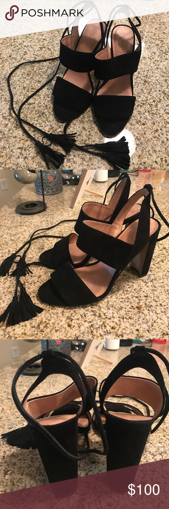 "Madewell Black Suede and Leather Heel Worn once to a formal event for a couple hours! 4"" heel, leather with leather lining! I normally wear a 7 1/2 but these ran a little bigger so I sized down. Madewell Shoes Heels"