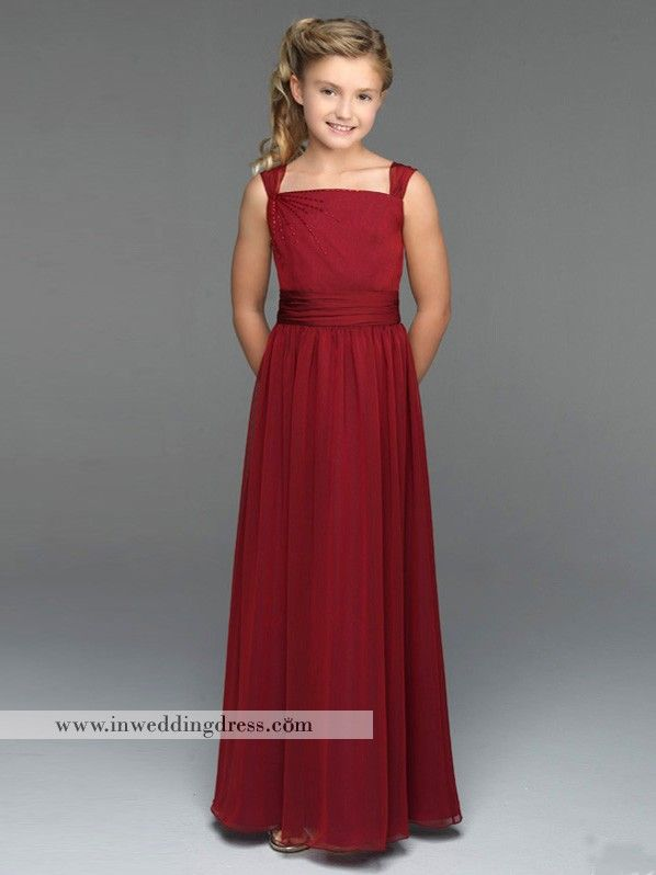 e3a6f39095398 Chiffon Junior Bridesmaid Dress with Straps JU004 | Wedding Attire ...