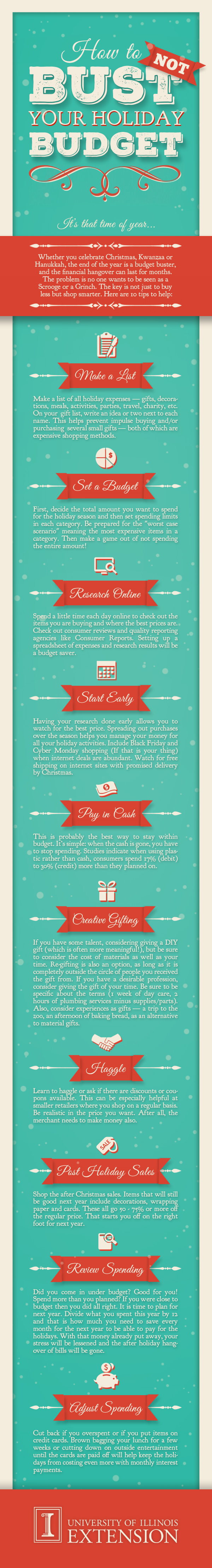 How To Not Bust Your Holiday Budget Infographic Christmas Finances Money Budget Holidays Show Me The Money Budgeting