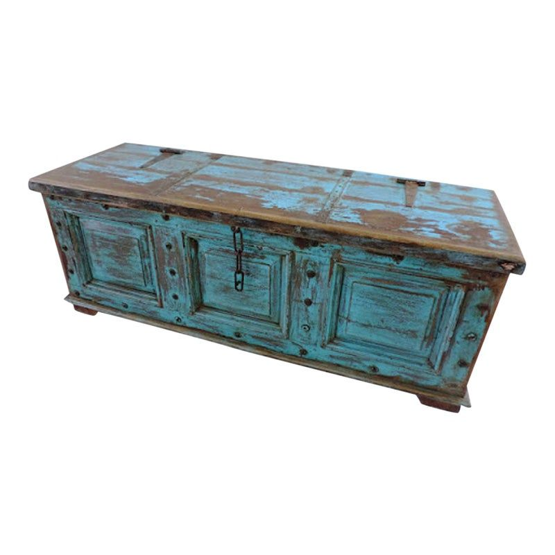 Antique Blue Storage Trunk Furniture Rustic Living Room Furniture Rustic Furniture Diy #storage #trunk #living #room