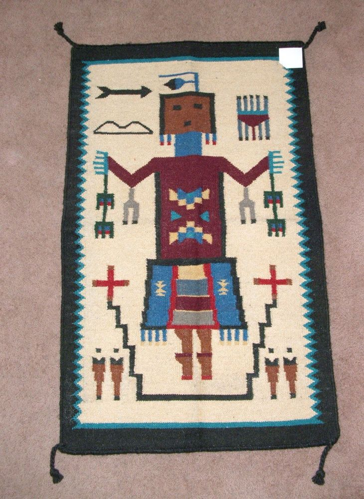 """Native American Wall Hangings area rug tapestry wall hanging wool 27x44""""' native yei's"""