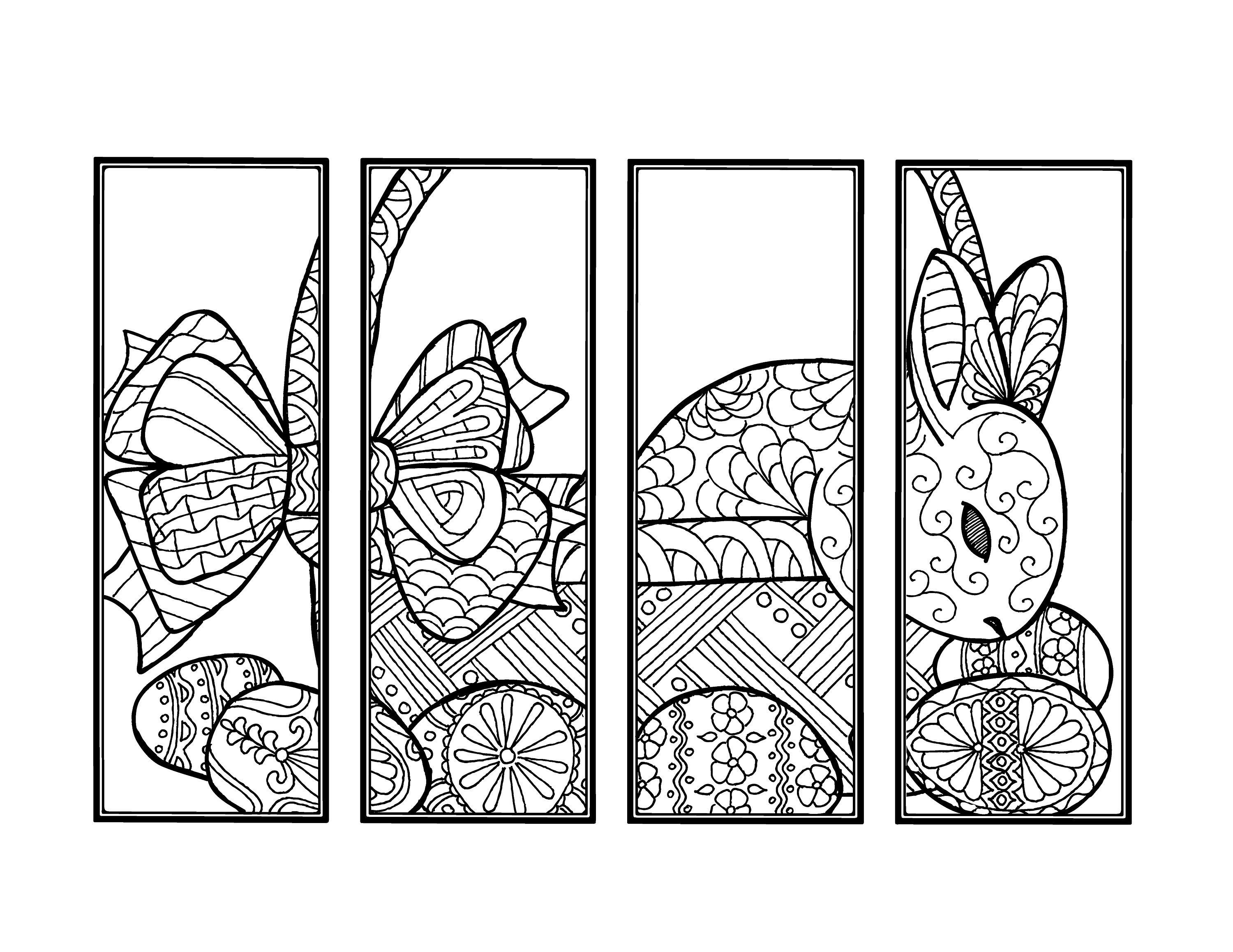 Diy Easter Bunny Bookmarks Printable Coloring Page Adult Coloring