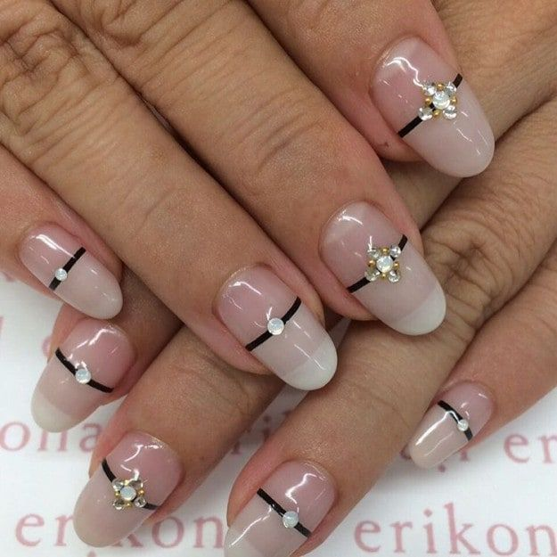 French tips are simple yet elegant, but you can experiment with various  designs. Pay homage to Bastille Day with these cute French nail designs  with twists! - 17 Cute French Nail Designs To Celebrate Bastille Day French Nails