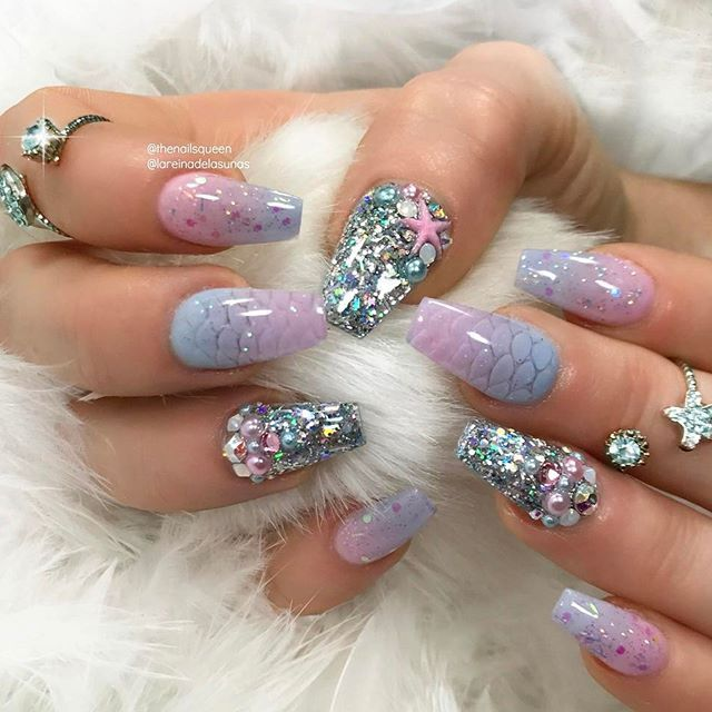 mermaid nails | Diseño | Pinterest | Mermaid nails, Mermaid and Nail ...