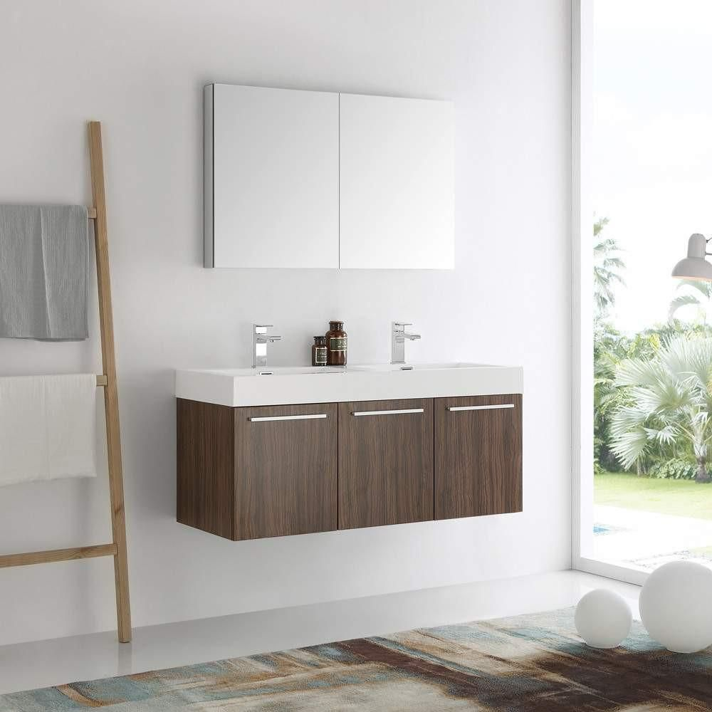 "48 Medicine Cabinet Fresca Vista 48"" Walnut Wall Hung Double Sink Modern Bathroom Vanity"