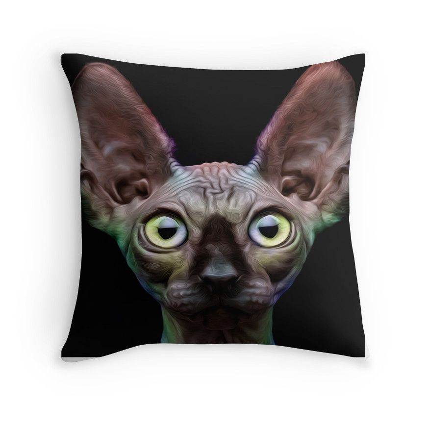 'Sphynx Cat Oil Painting Chroma' Throw Pillow By