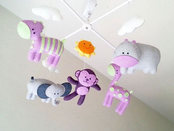 "Baby crib mobile, forest mobile, animal mobile , felt mobile ""Safari in purple"" Girrafe, Elephant, Monkey, Zebra, Hippo"""